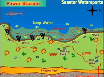 Power Station Dive Site Map by Seastar Watersports